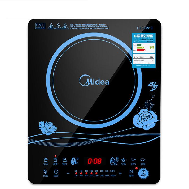 美的电磁炉Midea/美的 WK2102电磁炉特价家用触摸屏电池炉灶正品 已爆售百万多台 防滑触摸屏 一键爆炒